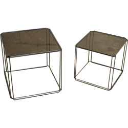 Pair of side tables in chromed metal and glass, Max SAUZE - 1960s