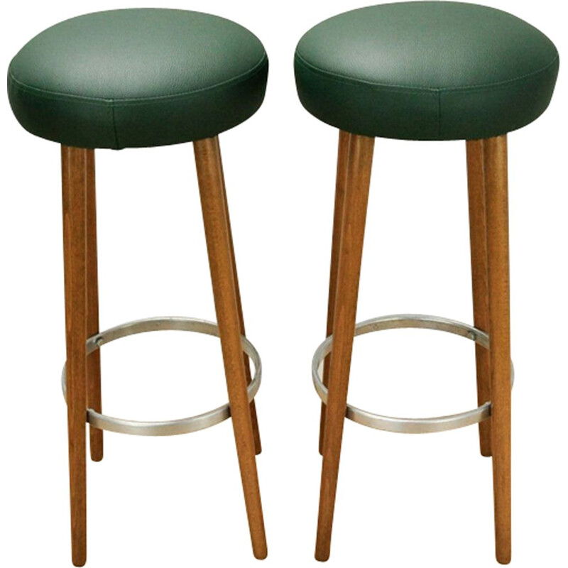 Set of 2 vintage green bar stools - 1950s