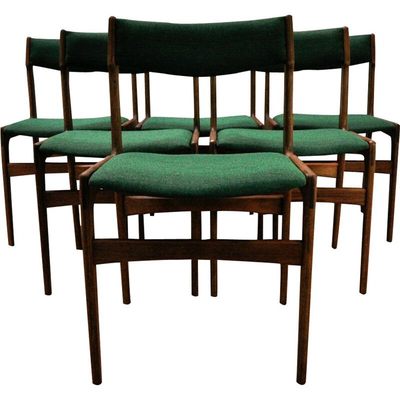 Set of 6 vintage green dining chairs by Erik Buch for Oddense Maskinsnedkeri - 1960s