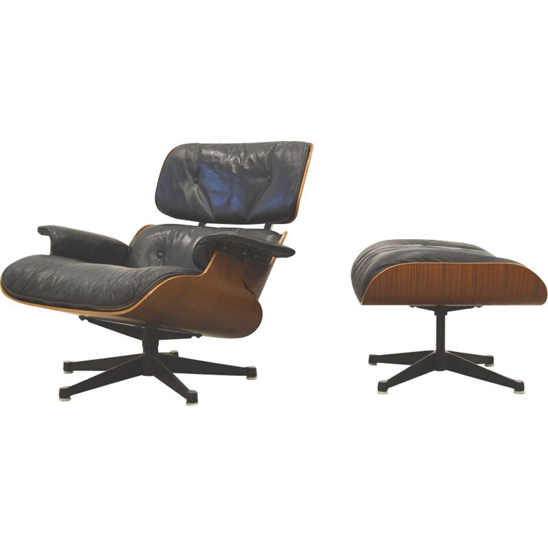 Vintage Lounge chair & Ottoman by Eames for Herman Miller  - 1950s