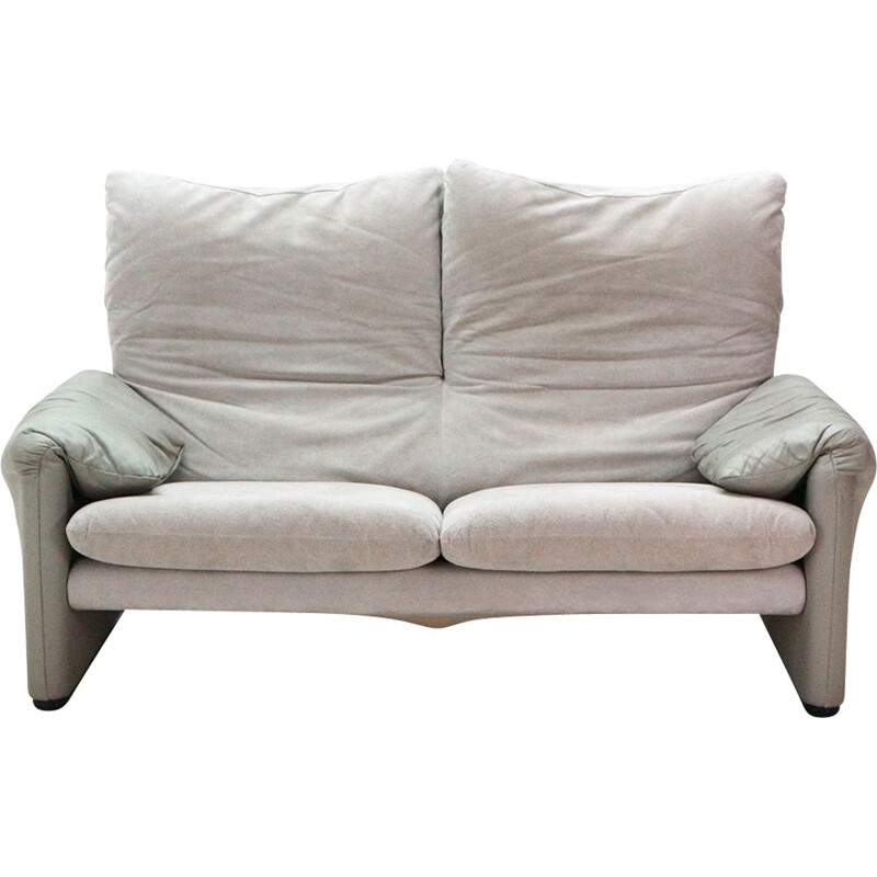 """Vintage two-seater sofa """"Maralunga"""" in leather by Vico Magistretti for Cassina - 1970s"""