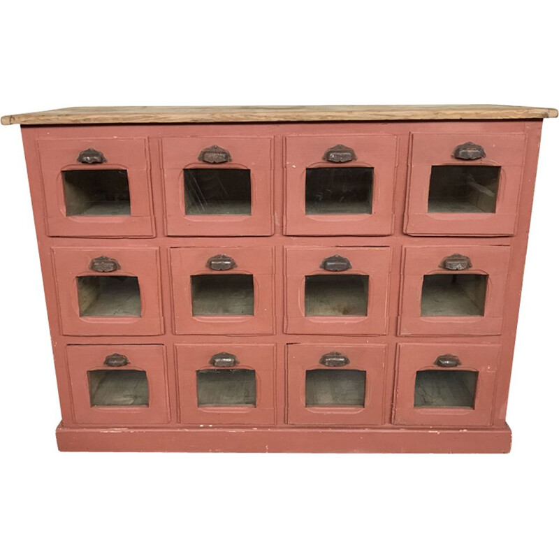 Former pink craft furniture with drawers/ mini grocery/seeds distributor - 1930s