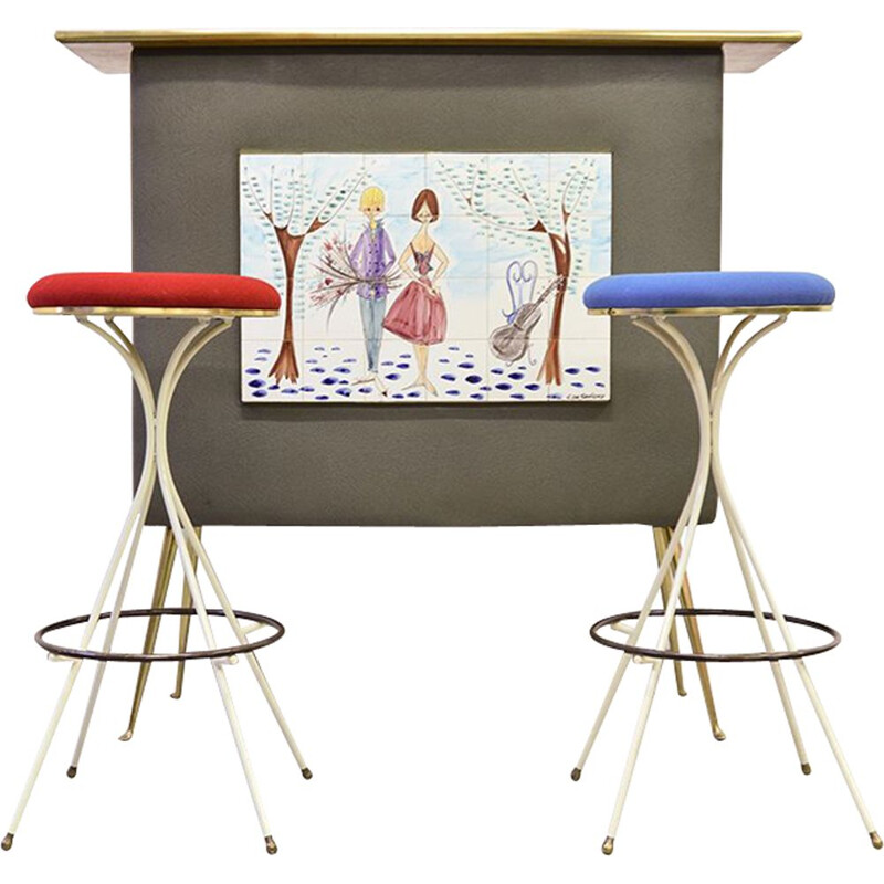 Vintage French bar with 2 bar stools - 1950s