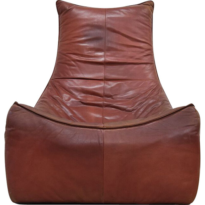"Vintage chair ""The Rock"" in leather by Gerard van den Berg for Montis - 1970s"