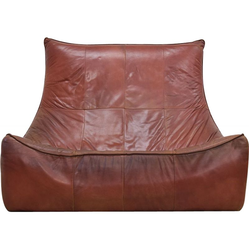 """Vintage 2-seater sofa """"The Rock"""" in leather by Gerard van den Berg for Montis - 1970s"""