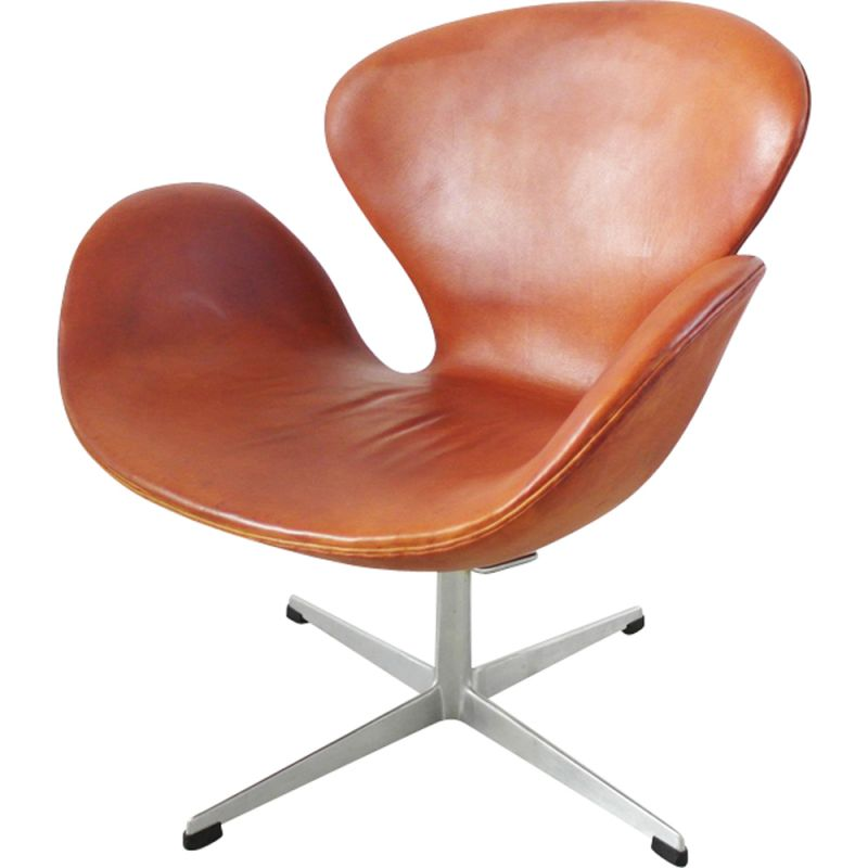 Terrific Vintage Easy Chair Swan In Leather By Arne Jacobsen 1960S Evergreenethics Interior Chair Design Evergreenethicsorg
