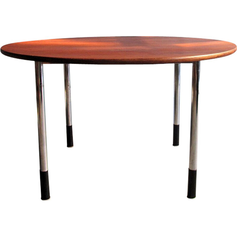 Vintage round office table with adjustable height - 1970s