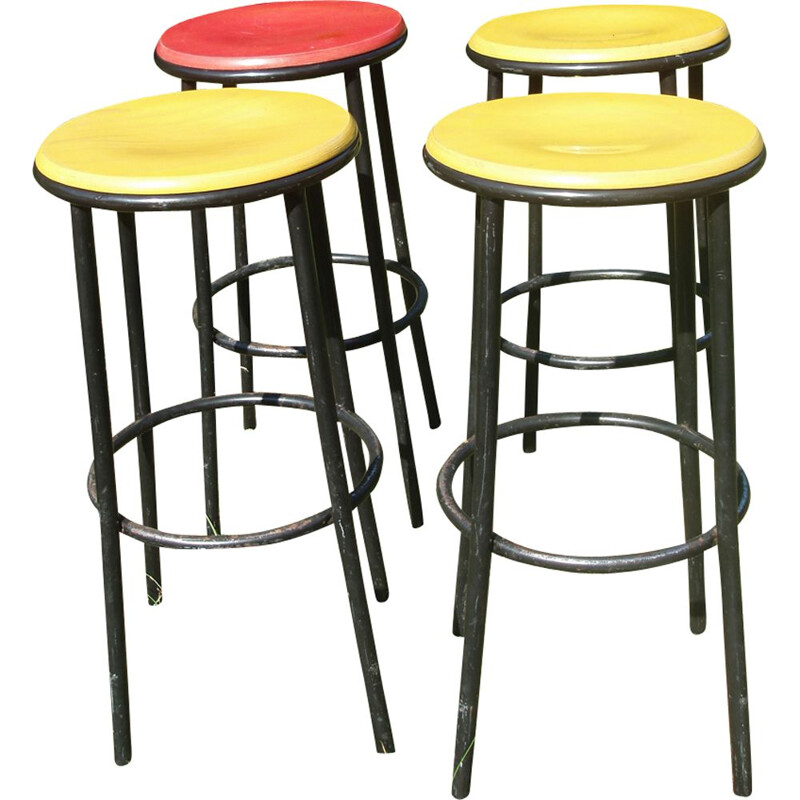 Vintage set of 4 bar stools - 1960s