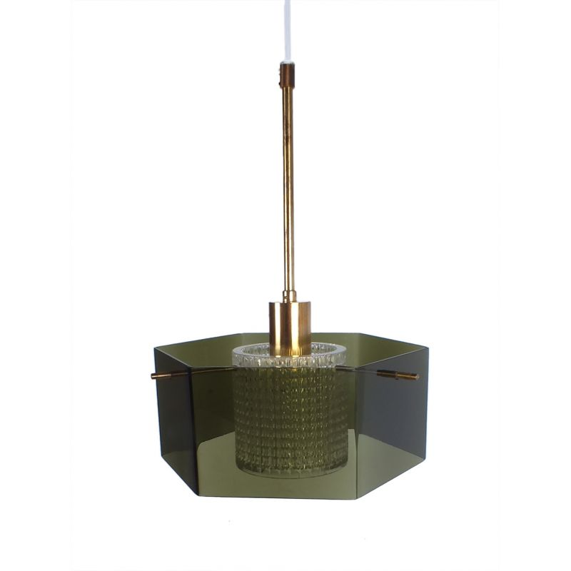 Vintage Hanging Lamp In Brass And Green Glass By Carl Fagerlund For Orrefors 1960s