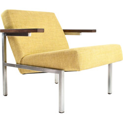 SZ63 easy chair in fabric, metal and rosewood, Martin VISSER - 1960s