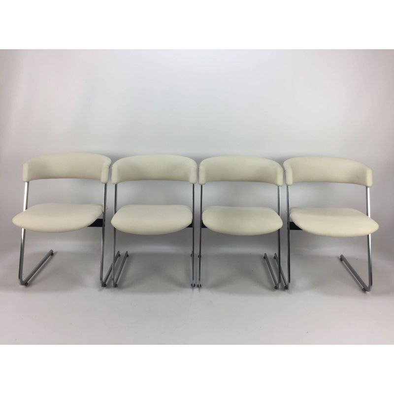 Set Of 4 Metal Italian Dining Chairs