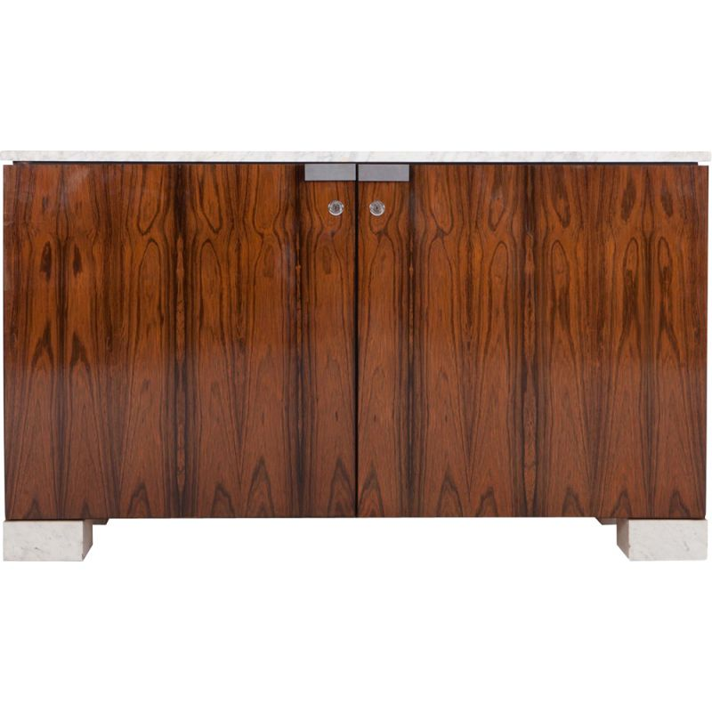 Walnut and Marble Cabinet by De Coenne - 1950s