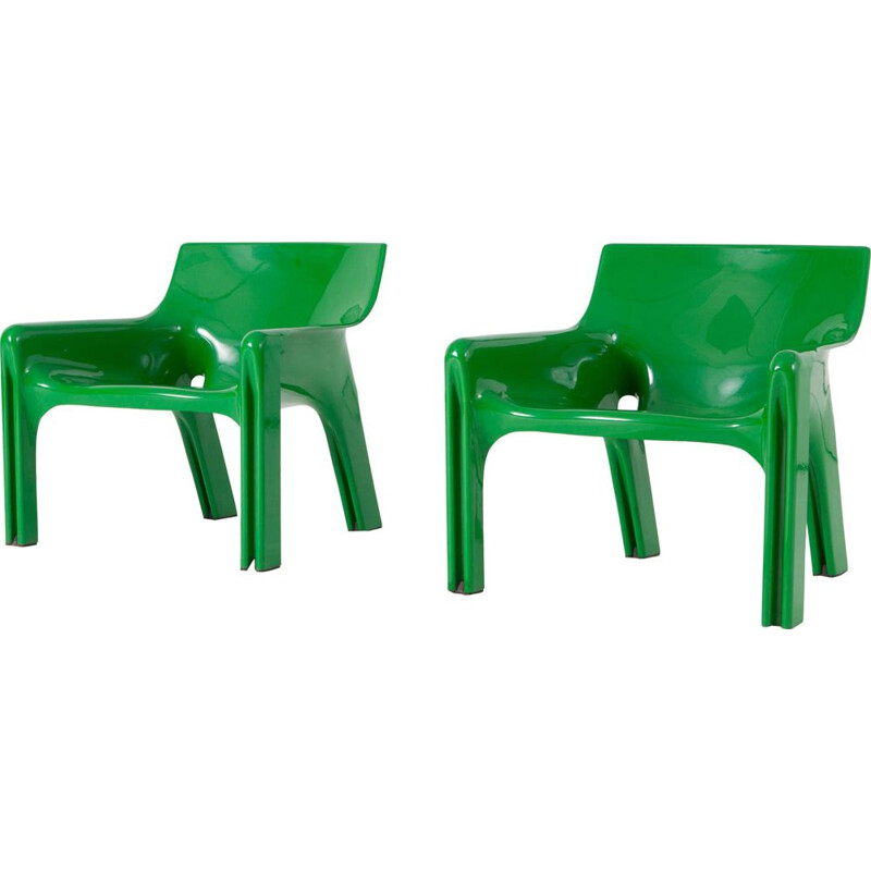 "Vintage ""Vicario"" Green Lounge Chairs by Vico Magistretti - 1970s"