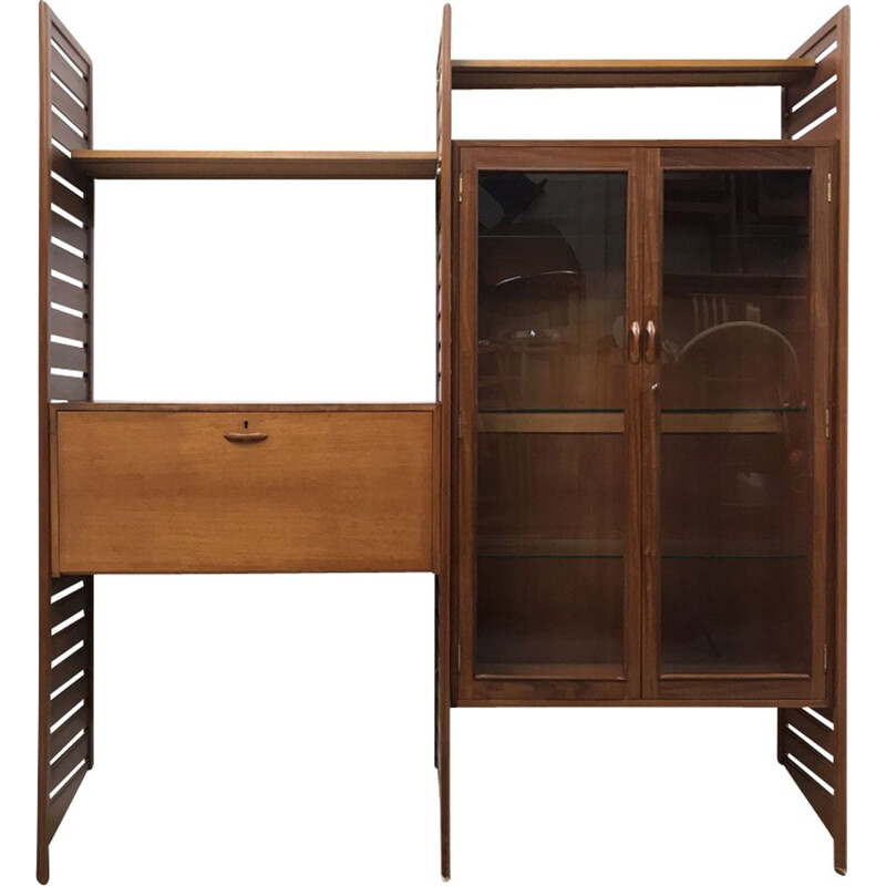 """Vintage double bay wall """"Ladderax"""" shelving unit by Staples - 1960s"""