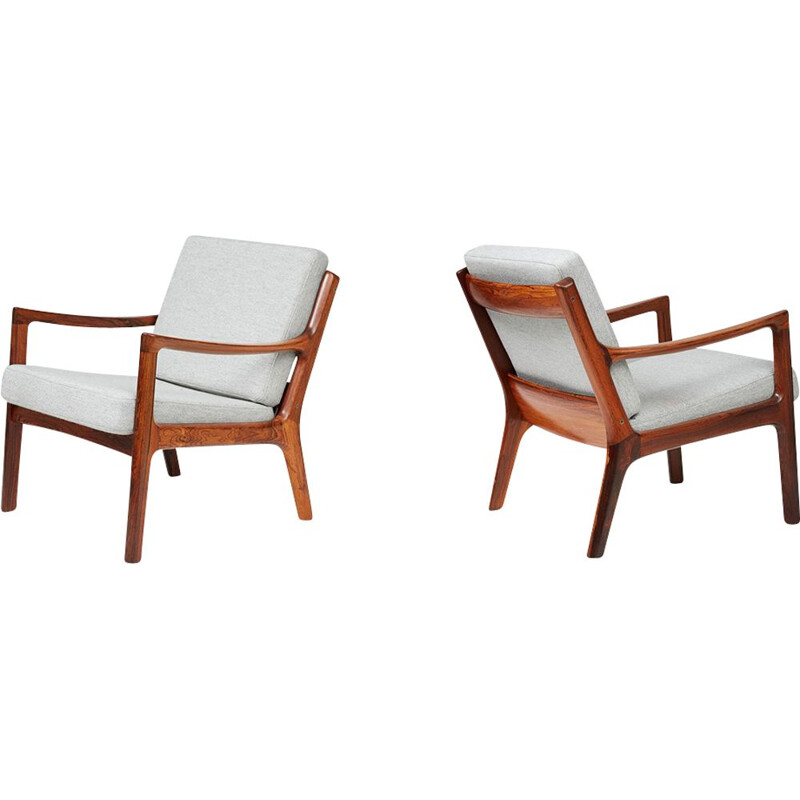 Pair of Vintage Rosewood Colonial Chairs by Ole Wanscher - 1940s