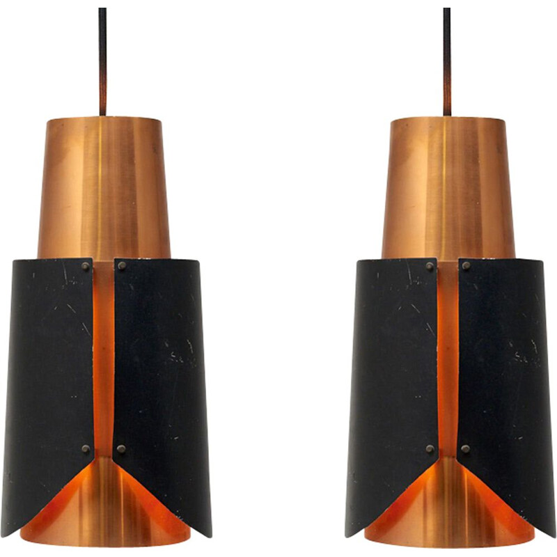 Vintage set of 2 pendant lamps model Østerport by Bent Karlby for Lyfa