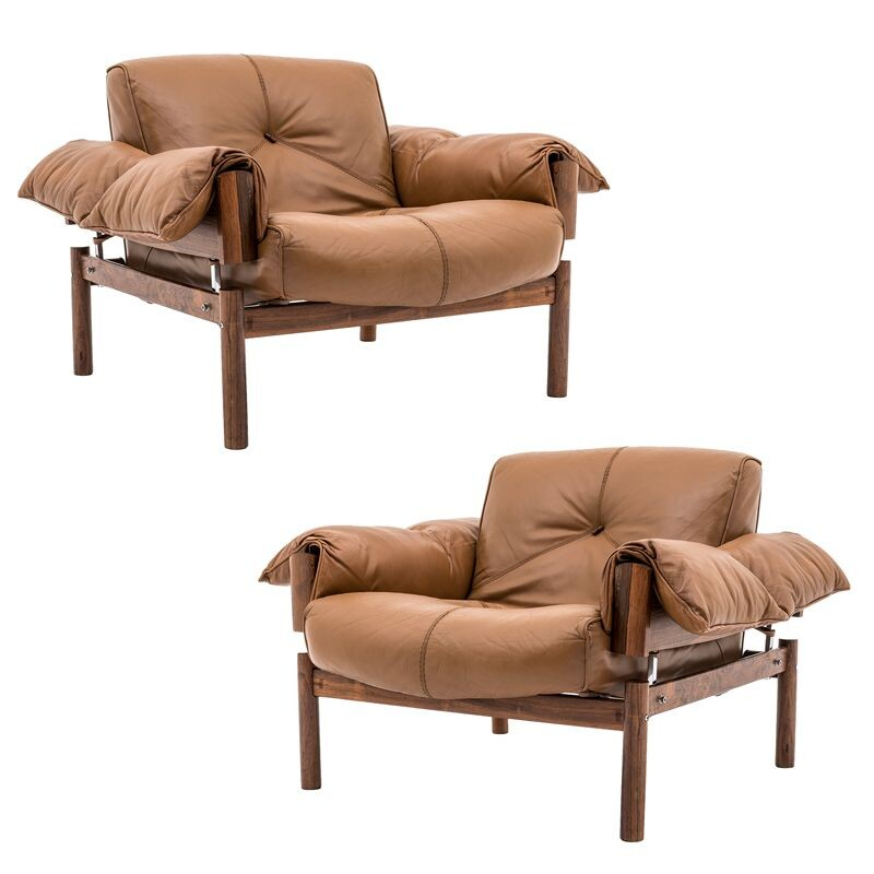 Set of 2 vintage Brazilian armchairs in leather and rosewood by Percival Lafer