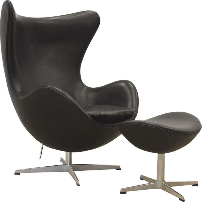 Vintage Egg Armchair Ottoman In Black Leather By Arne Jacobsen For Fritz Hansen