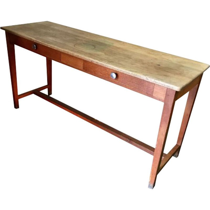 Vintage French table in solid oak