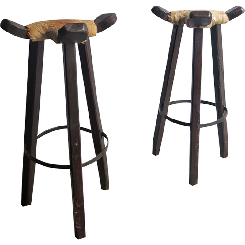 Vintage set of 2 high stool with cow leather seat