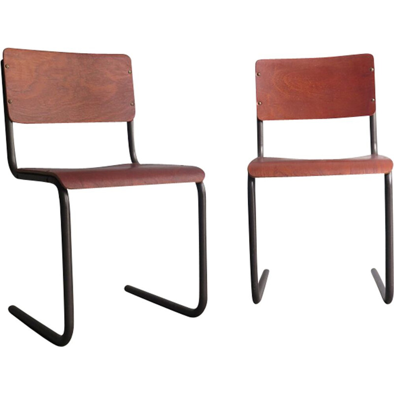 Vintage set of 2 chairs in metal and plywood