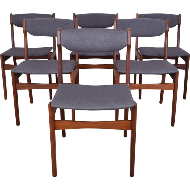 Vintage set of 6 Danish dining chairs in teak