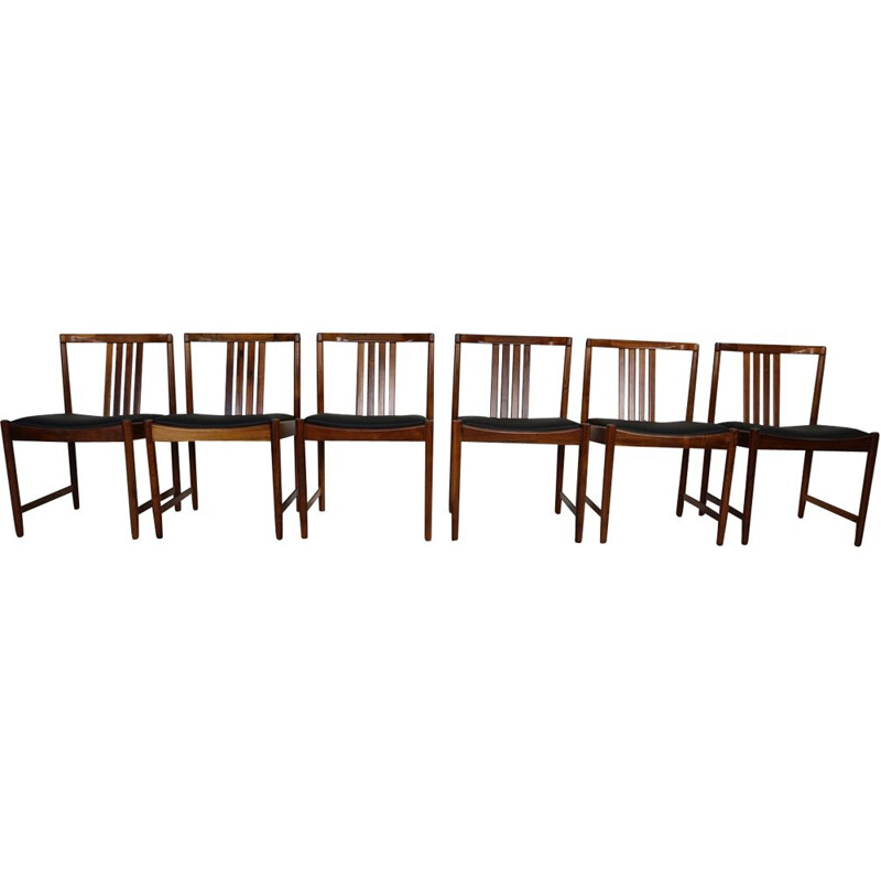Set of 6 vintage dining chairs in solid rosewood