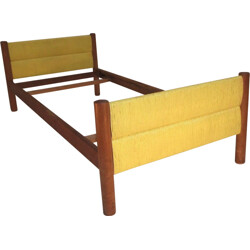 Meribel bed in solid oakwood and straw, Charlotte PERRIAND - 1960s