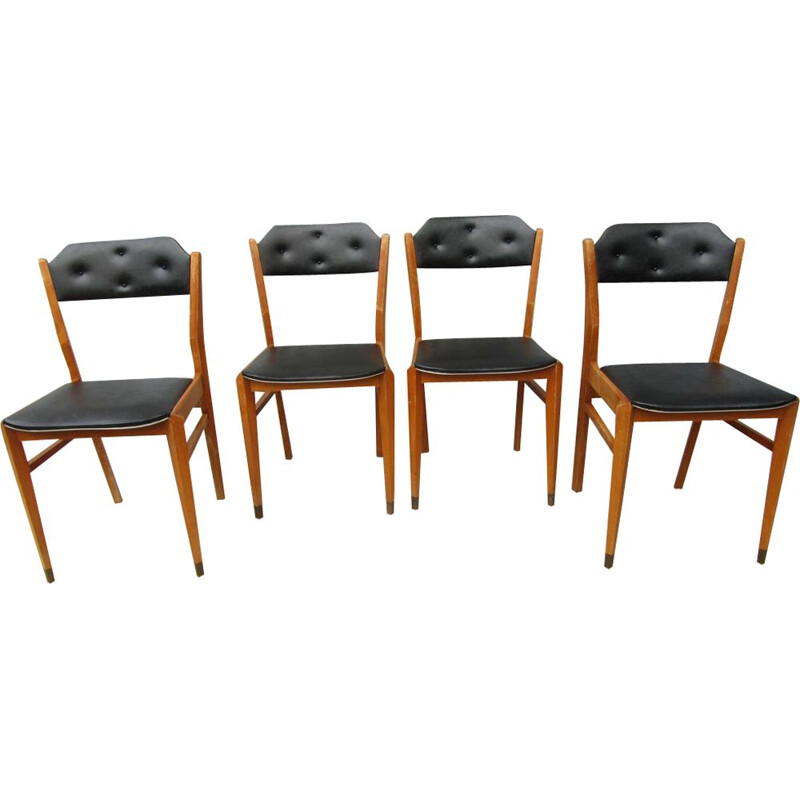Set of 4 vintage black dining chairs