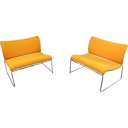 Pair of low chairs in chrome steel and yellow fabric - 1980s