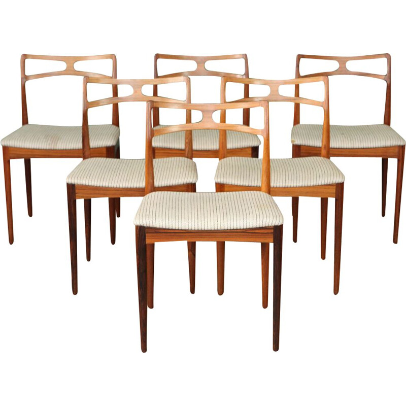 Vintage set of 6 dining chairs in rosewood by Johannes Andersen