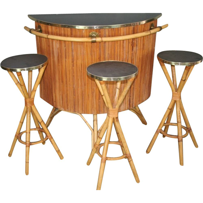 Vintage bar and set of 3 stools in rattan
