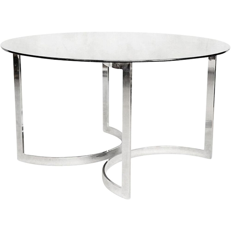 Vintage round dining table in glass by Milo Baughman