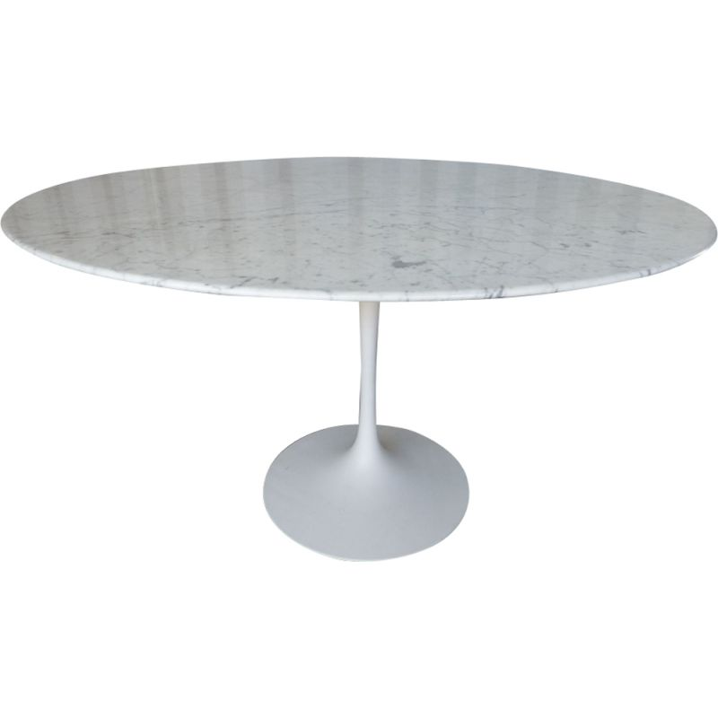 Vintage Tulip Table In Carrara Marble By Knoll Saarinen Design Market - Saarinen carrara marble table