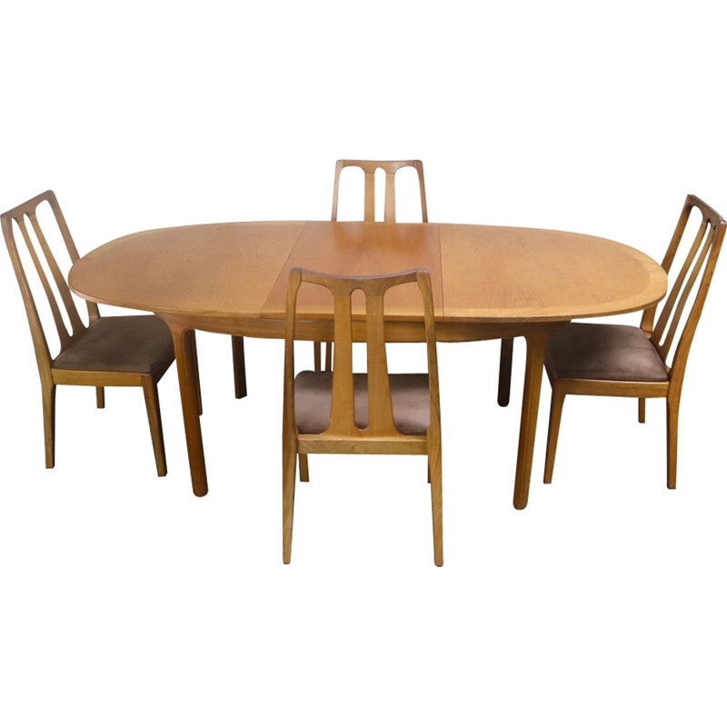 Vintage extendable dining table and set of 4 chairs by Nathan