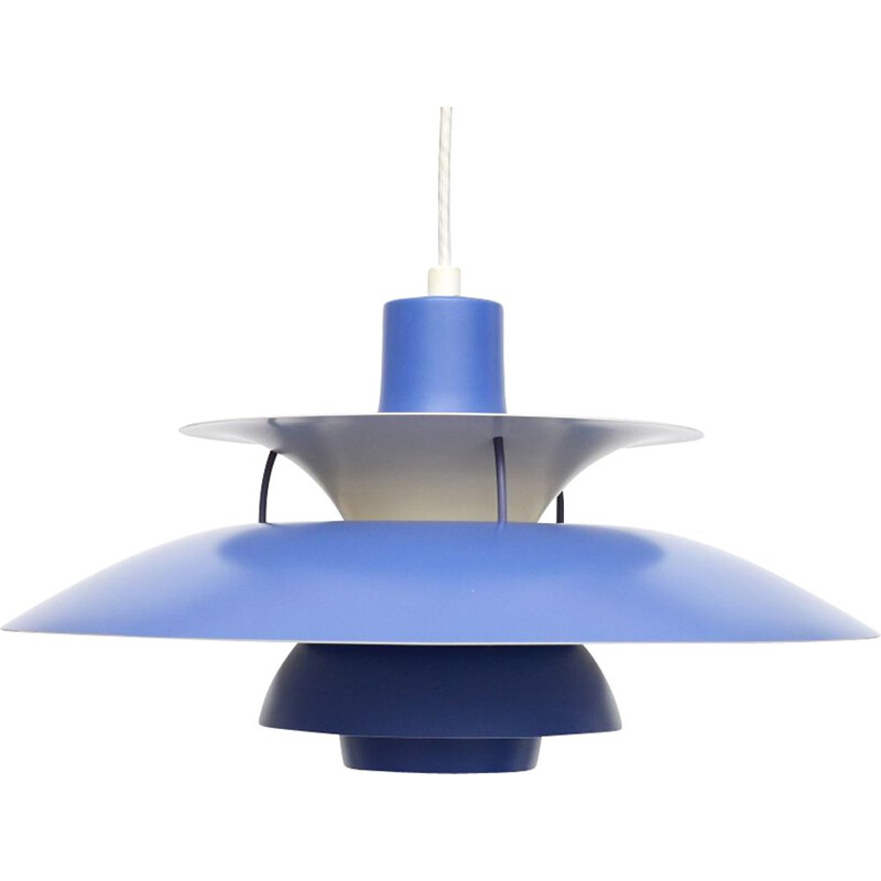 "Vintage Scandinavian blue pendant lamp ""PH5"" by Poul Henningsen For Louis Poulsen"
