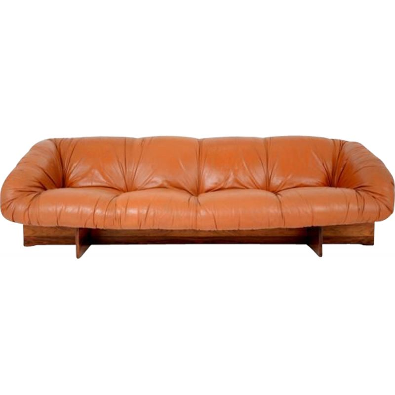 Vintage Brazilian Sofa In Leather By Percival Lafer
