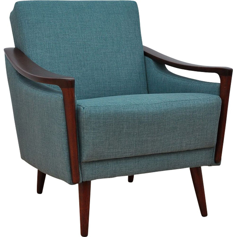 Vintage blue armchair in beechwood
