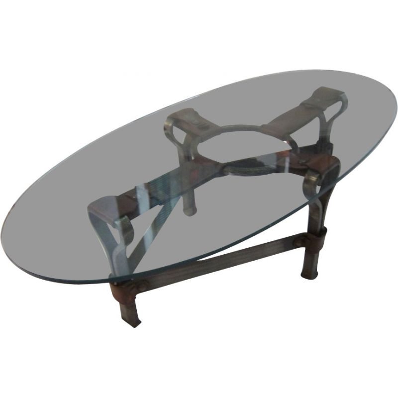 Vintage Coffee Table Wrought Iron Leather & Glass