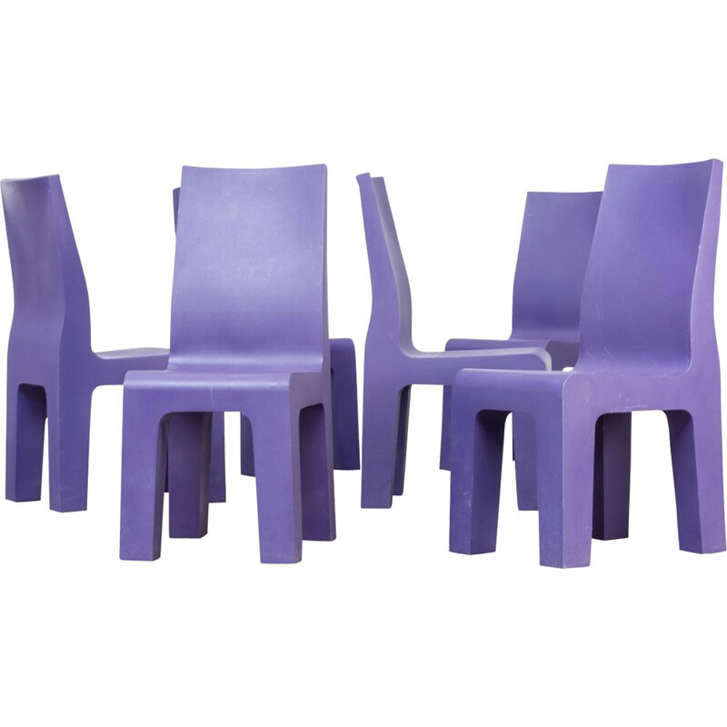 Set of 6 vintage purple chairs by Richard Hutten for Gispen