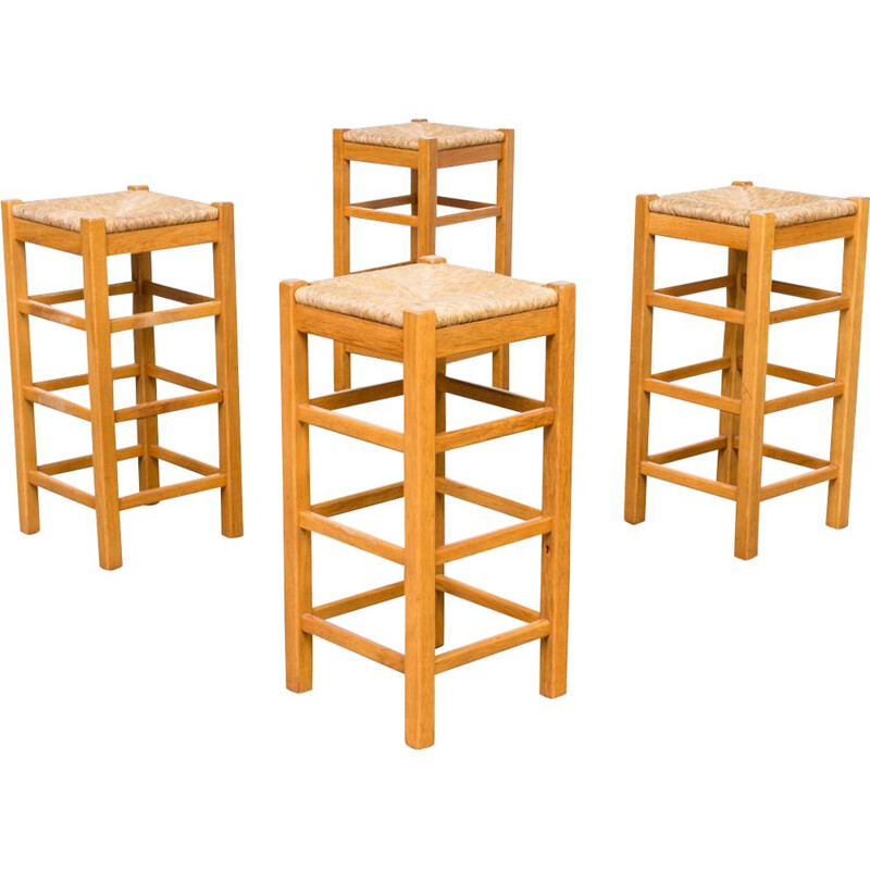 Set of 4 vintage stools in oak with wicker seat