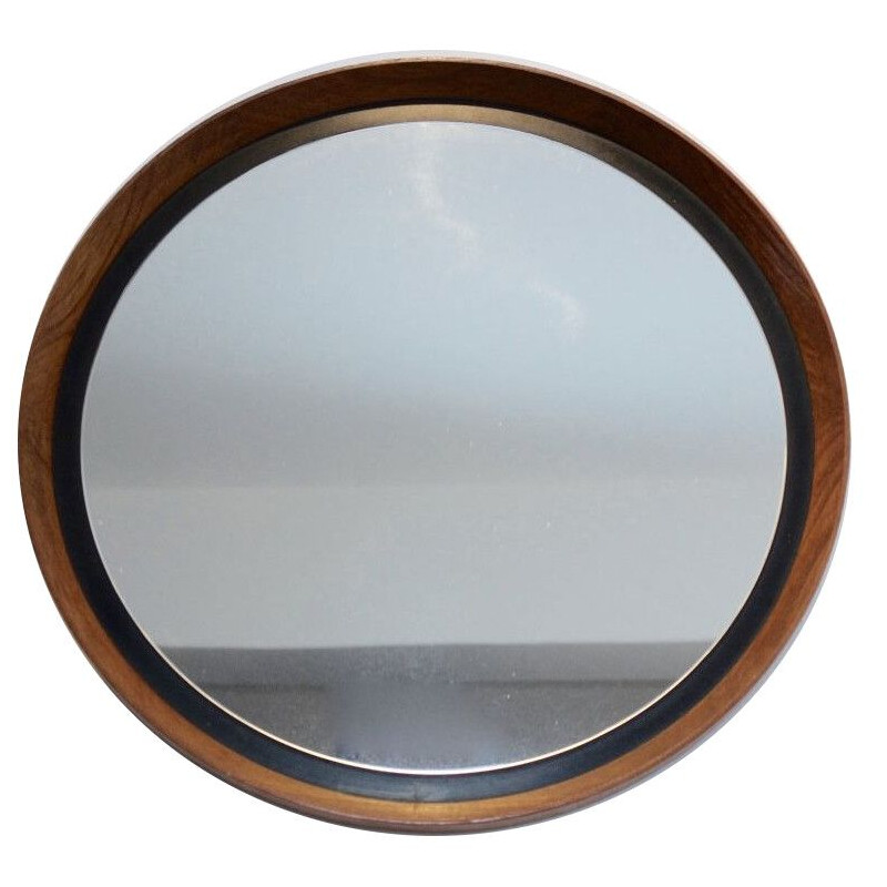 Vintage mirror in teak by Uno & Östen Kristiansson for Luxus