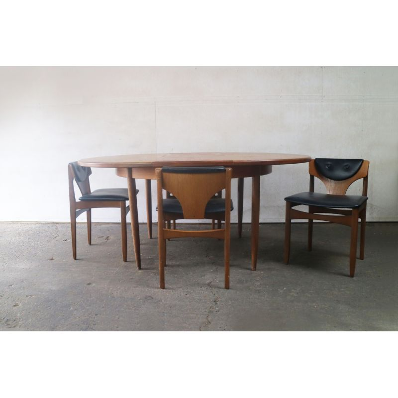 Vintage G Plan Extending Dining Table And 4 Low Back
