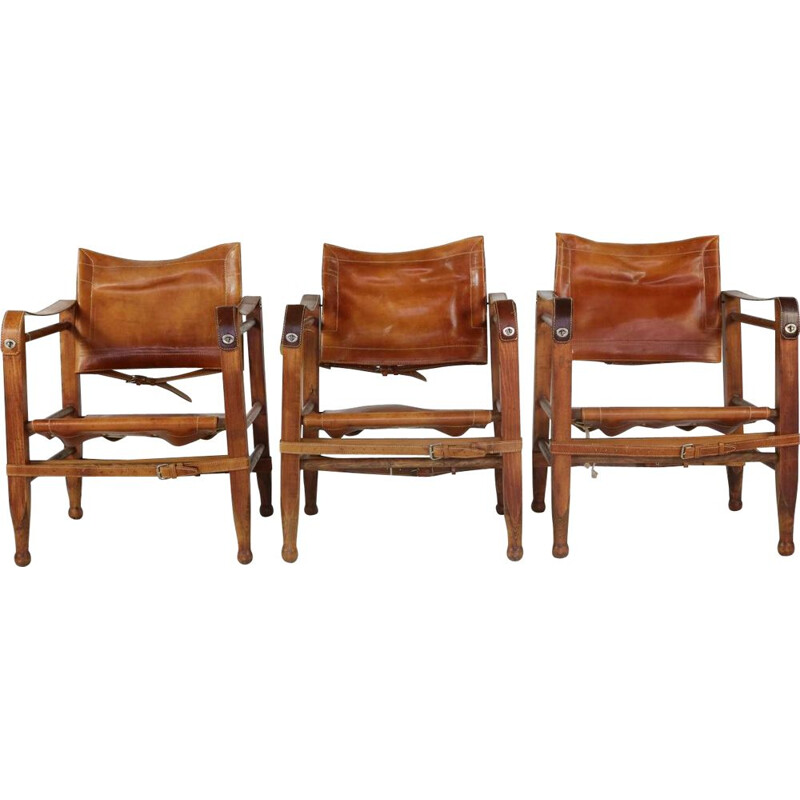 Vintage set of 3 safari chairs in leather