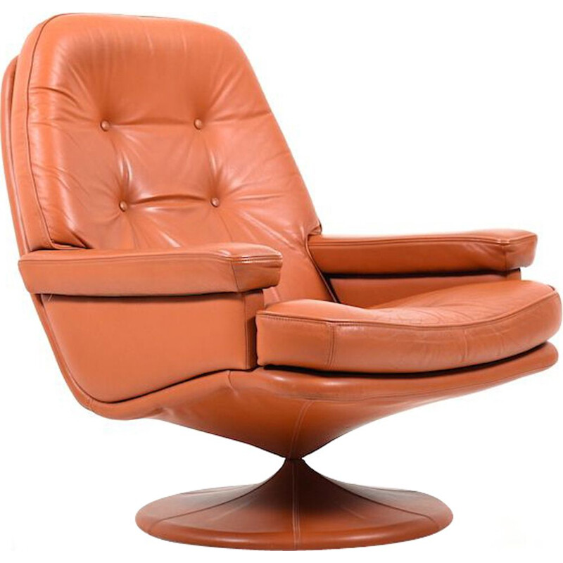 Vintage Scandinavian swivel lounge chair in leather
