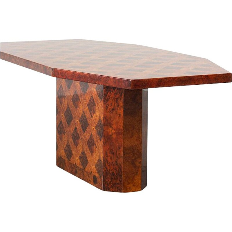 Vintage French dining table in burlwood