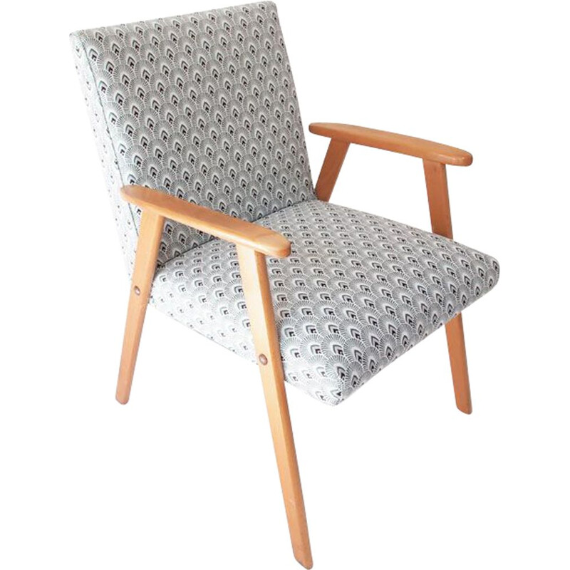 Vintage French armchair in fabric and wood