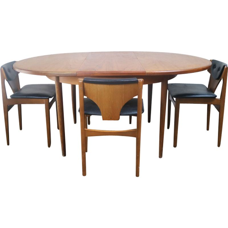 Awe Inspiring Vintage G Plan Extending Dining Table And 4 Low Back Dining Chairs Beatyapartments Chair Design Images Beatyapartmentscom