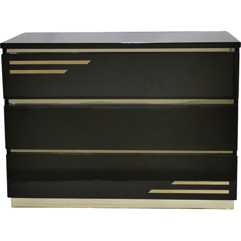Vintage black dresser in brass by J.C. Mahey for Romeo Paris - 1970s