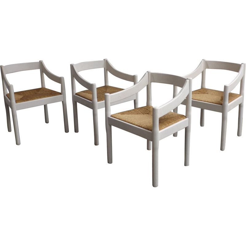 Vintage set of 4 vintage Carimate chairs by Vico Magistretti for Cassina